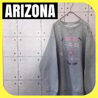 アリゾナ(ARIZONA)のARIZONAアリゾナ•スウェット•刺繍ロゴ•トレーナー•グレー•デカロゴ(スウェット)