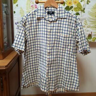 ✨23区 オレンジと紺色のチェック柄の半袖シャツ2L