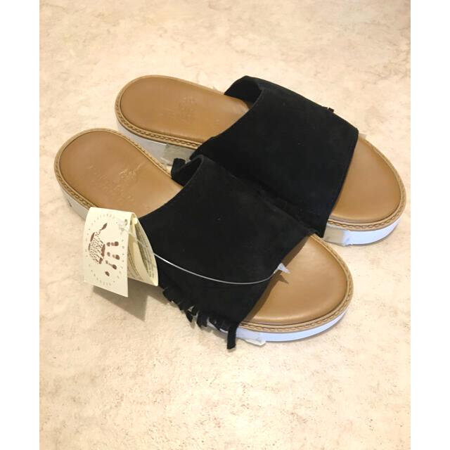 UNITED ARROWS(ユナイテッドアローズ)のスエードサンダル フリンジ   ブラック 黒 新品未使用 ユナイテッドアローズ レディースの靴/シューズ(サンダル)の商品写真