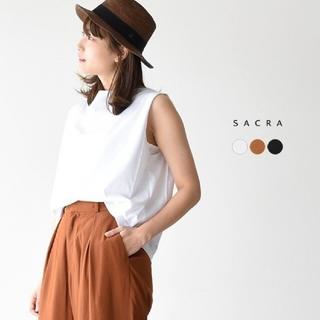 サクラ(SACRA)の一度着用美品 sacra ボートネック ノースリーブカットソー ホワイト 38(カットソー(半袖/袖なし))