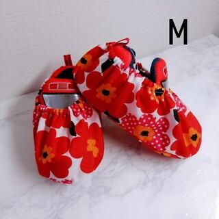 シューズカバーMサイズ  花柄  ナイロン  赤  レッド(外出用品)