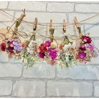 ドライフラワー スワッグ ガーランド❁227母の日ギフト♪ピンク薔薇 白 花束(ドライフラワー)