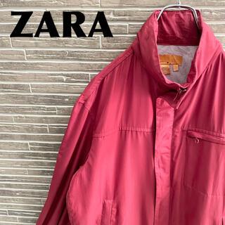 ザラ(ZARA)のZARA ザラ ナイロンジャケット 古着 ワインレッド シンプル フード付き(ナイロンジャケット)