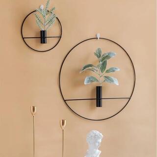 ザラホーム(ZARA HOME)の大小セット ブラック MENU 壁掛けワイヤーフラワーベース POV キャンドル(花瓶)