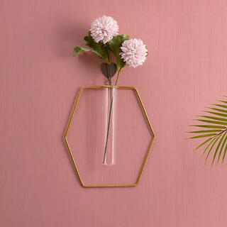 ZARA HOME - 【六角形】ワイヤーフラワーベース アイアン 壁掛け花瓶 シンプル まとめ 割