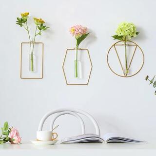 ザラホーム(ZARA HOME)の【円型】ワイヤーフラワーベース アイアン 壁掛け シンプル まとめ(花瓶)