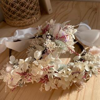ベビー ドライフラワー 花冠 お祝い 2セット(ドライフラワー)