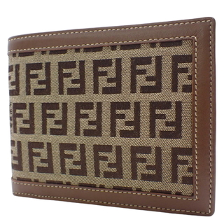 フェンディ(FENDI)のフェンディ 2つ折り財布 キャンバス レザー ベージュ  40800068985(折り財布)