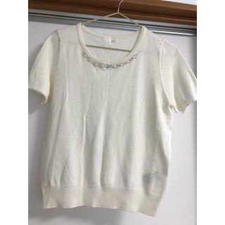 インデックス(INDEX)の胸周りにビジュー付きトップス(カットソー(半袖/袖なし))