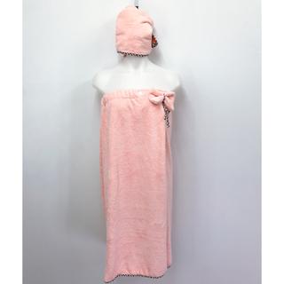 ユニクロ(UNIQLO)の着れるバスタオル ヘアタオル 2点セット レディース バスローブ  ピンク (タオル/バス用品)