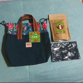 カルディ(KALDI)の帆布トートバッグ&ポーチ(紺)(トートバッグ)