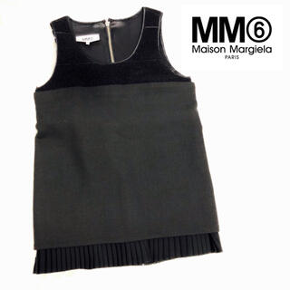 マルタンマルジェラ(Maison Martin Margiela)のMM6 メゾンマルジェラ ドッキングデザイントップス ブラック size42(シャツ/ブラウス(半袖/袖なし))