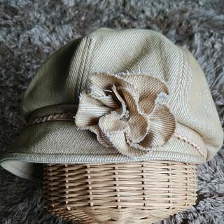 花モチーフ ベージュ×オフホワイト 帽子(ハンチング/ベレー帽)