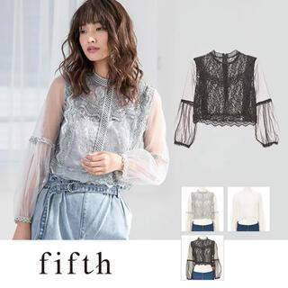 フィフス(fifth)のfifth チュールレースブラウス 黒(シャツ/ブラウス(長袖/七分))