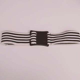 ザラ(ZARA)のZARA ザラ ベルト ゴム 幅広 ストライプ ボーダー 黒 白(ベルト)