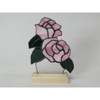 ステンドグラス 薔薇パネル ピンク A(インテリア雑貨)