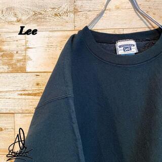 アイスクリーム(EYESCREAM)の《リバース素材》LEE リー スウェット L☆ブラック 黒 肉厚 企業ロゴ 刺繍(スウェット)