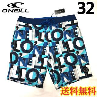オニール(O'NEILL)の【新品】オニール  メンズ ボードショーツ ロゴ柄 ホワイトブルー 32(水着)