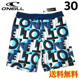 オニール(O'NEILL)の【新品】オニール  メンズ ボードショーツ ロゴ柄 ホワイトブルー 30(水着)