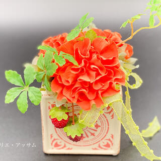 【粘土で作る枯れないお花】カーネーションアレンジ〜オレンジ〜(その他)