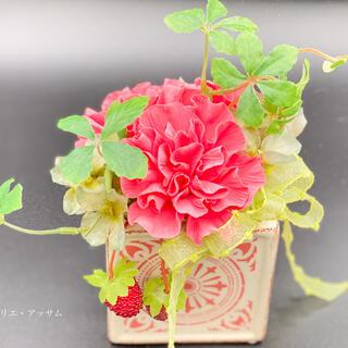 【粘土で作る枯れないお花】カーネーションアレンジ〜サーモンピンク〜(その他)