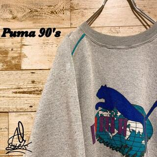 プーマ(PUMA)の《90s》Puma プーマ スウェット L☆デカロゴ グレー 灰色 刺繍ロゴ(スウェット)