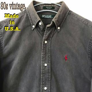 ポロラルフローレン(POLO RALPH LAUREN)の雰囲気◎ 80s USA製 ラルフローレン BDツイルシャツ チャコールグレー(シャツ)