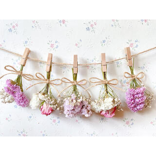 ピンクグラデーションのバラとかすみ草のドライフラワーガーランド♡スワッグ♡ブーケ(ドライフラワー)