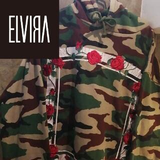 エルヴィア(ELVIA)の【薔薇刺繍 花 Lサイズ】ELVIRAパーカー ブラックアイパッチ STUSSY(パーカー)