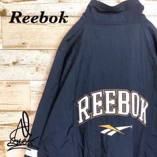 リーボック(Reebok)の《旧タグ90s》Reebok リーボック L♤ネイビー 紺 デカロゴ バックロゴ(ナイロンジャケット)