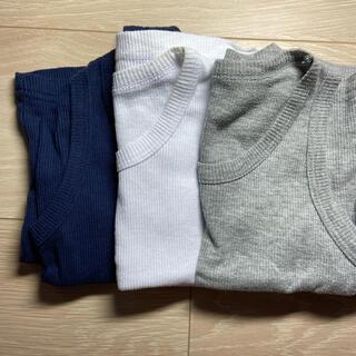 ニシマツヤ(西松屋)のタンクトップ 80 ブルー グレー ホワイト 男の子(タンクトップ/キャミソール)