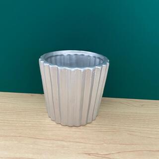シルバー 丸型 プランター 鉢植え(プランター)