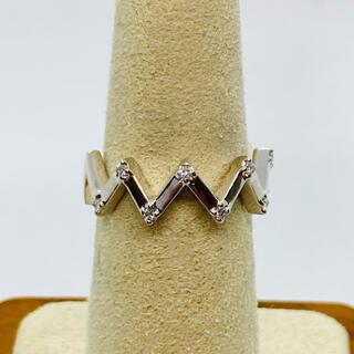 美品 K18WG ダイヤモンド リング D:0.06ct ブランド刻印あり(リング(指輪))