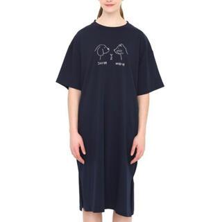 グラニフ(Design Tshirts Store graniph)のグラニフ Tシャツワンピース 犬派猫派ハム派 ネイビー(ひざ丈ワンピース)