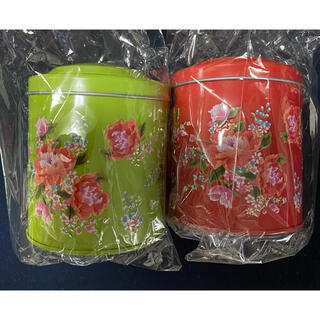 KALDI - パイナップル風クッキー 客家柄缶 緑・赤2個セット