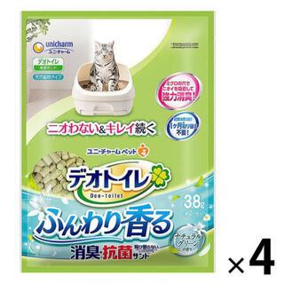 Unicharm - 送料込み☆消臭抗菌デオトイレ ふんわり香る消臭抗菌サンド3.8L×4袋☆猫砂