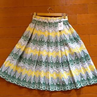 シネカノン(Sinequanone)のSinequanone レトロ ジオメトリック刺繍 タックフレアスカート(ひざ丈スカート)