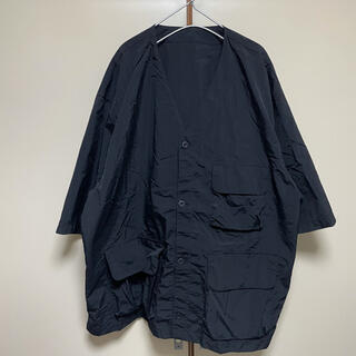 ジーユー(GU)のほぼ未使用 GU ジーユー ビッグシルエット ベースボールシャツ 黒(ナイロンジャケット)