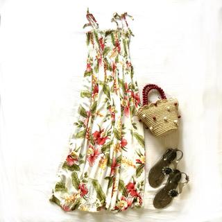 美品 Two Palms ハワイ製 ハワイアンアロハシャツ花柄マキシワンピース白(ロングワンピース/マキシワンピース)
