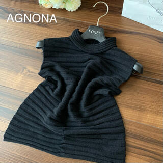アニオナ(Agnona)のAGNONA アニオナ 最高級カシミヤ ノースリーブトップス ネイビー 40(ニット/セーター)