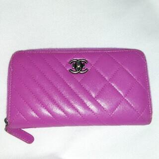 シャネル(CHANEL)のCHANEL ボーイシャネル マルチ財布 フクシアパープル コンパクト スマホ(財布)