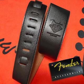 【新品】 Fender フェンダー ギター ストラップ レザー 黒 ブラック(ストラップ)