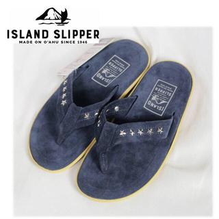 アイランドスリッパ(ISLAND SLIPPER)の《アイランドスリッパ》箱付新品 スタッズ スウェードサンダル 紺 7(25cm)(サンダル)