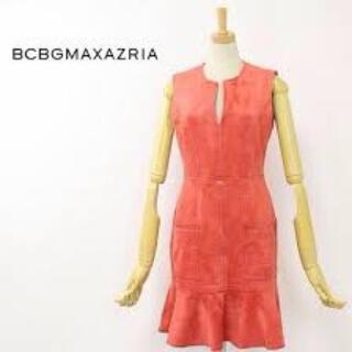 ビーシービージーマックスアズリア(BCBGMAXAZRIA)のお値下げ中 BCBG   ベロア ミニ ワンピース ピンク(ミニワンピース)