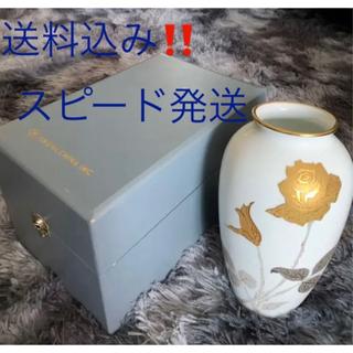 オオクラトウエン(大倉陶園)の新品【Okura China】大倉陶園 薔薇 金彩白磁 花瓶 箱入り(花瓶)