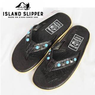 アイランドスリッパ(ISLAND SLIPPER)の《アイランドスリッパ》新品 ターコイズ&スタッズ レザーサンダル 8(26cm)(サンダル)
