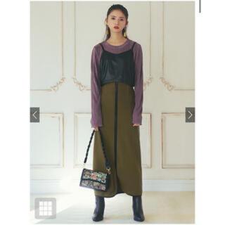 グレイル GRL  パイピングタイトスカート グリーン(ひざ丈スカート)