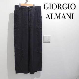 ジョルジオアルマーニ(Giorgio Armani)のジョルジオ・アルマーニ ワイドスラックス 紺 Mサイズ メンズ(スラックス)