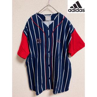 アディダス(adidas)の希少 adidas アディダス ベースボールシャツ ストライプ ラグラン 古着(シャツ)