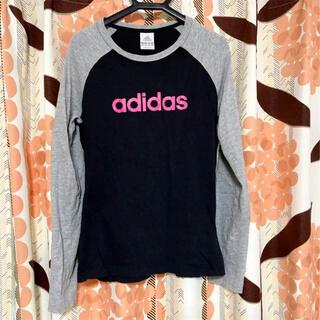 アディダス(adidas)のアディダス adidas 長袖 長袖Tシャツ  レディース ブラック グレー M(Tシャツ(長袖/七分))